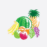 Color charcoal painting of fruits Stock Photo