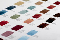 Color chart. Color sampler of watercolor paint Royalty Free Stock Image