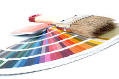 Color Chart. With paint brush on white background royalty free stock images