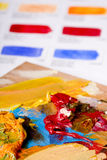 Color chart and artistic paint Stock Photo