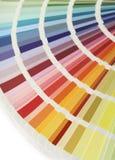 Color chart fan. Spectrum fan of color chart samples, vertical stock image