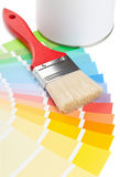 Color chart guide with brush and paint bucket Royalty Free Stock Photography