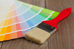 Color chart guide with brush Stock Photo