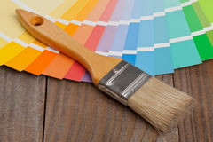 Color chart guide with brush Royalty Free Stock Photography