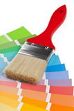 Color chart guide with brush. On white background stock image