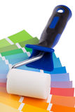 Color chart guide with paint roller Stock Photography