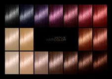Color chart for hair dye. Tints. Hair color palette with a range stock photos