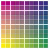 Color chart magenta yellow cyan print production color guide tin Stock Photo