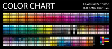 Free Color Chart. Print Test Page. Color Numbers Or Names. RGB, CMYK, HEX HTML Codes. Vector Color Palette Royalty Free Stock Images - 174803219