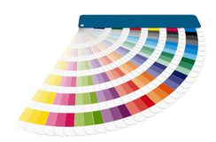 Color guide swatches used in prepress isolated over white. Color chart to use in prepress and commercial printing isolated over white. Cyan, magenta and yellow Stock Image
