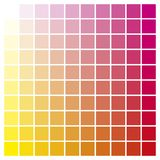 Color chart yellow magenta print production color guide ink cata Stock Photography