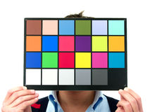 Color checker. During photo studio shoot stock photo