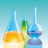 Color Chemical Flasks Stock Image