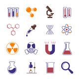 Color chemistry, research and science vector icons. Chemistry laboratory instruments and scientific experiments symbols Royalty Free Stock Photography