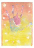 Color child hand print. Watercolor color child hand print on a colored background Royalty Free Stock Images
