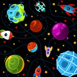 Color children pattern with cute planets, rockets and stars vector illustration
