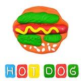 Color children's hot dog plasticine stock photography