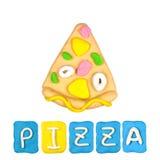 Color children's pizza plasticine Royalty Free Stock Image
