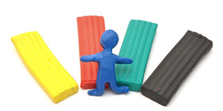 Color children's plasticine lies Royalty Free Stock Images