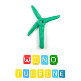 Color children's wind turbine  plasticine Stock Photography