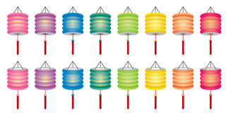 Color Chinese paper lanterns set Stock Images