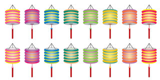 Color Chinese paper lanterns set Royalty Free Stock Images