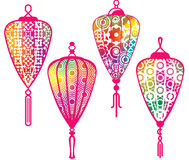 Color Chinese paper lanterns set Stock Image