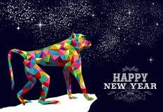 Color chino feliz 2016 del triángulo del mono del Año Nuevo stock de ilustración
