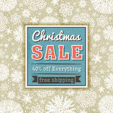 Color christmas background and  label with sale offer Royalty Free Stock Photo
