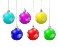 Color Christmas balls. Six Color Christmas balls on white background Royalty Free Stock Image