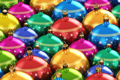Color Christmas balls. Creative abstract New Year 2014 and Xmas celebration background concept: macro view of group of color shiny metallic glass Christmas balls stock illustration