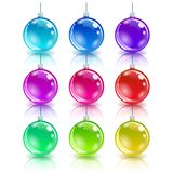 Color christmas balls set. Realistic glossy material royalty free illustration