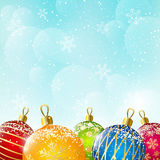 Color Christmas balls on sky background Stock Photo