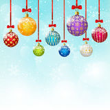 Color Christmas balls on sky background Royalty Free Stock Photography