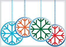 Color christmas balls with snowflake Royalty Free Stock Images