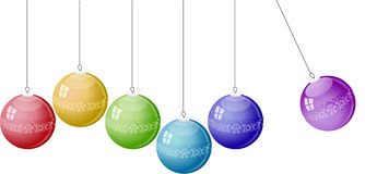 Color christmas balls on white background. Royalty Free Stock Image