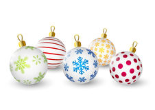 Color christmas balls on white Royalty Free Stock Image