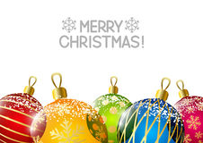 Color Christmas balls on white Royalty Free Stock Photo
