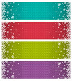 Color christmas banners with snowflakes, vector Royalty Free Stock Photos