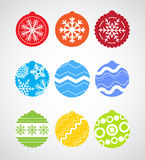 Color Christmas baubles collection. Nine colorful Christmas baubles collection Stock Images