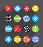 Color Christmas baubles collection Stock Photography