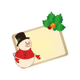Color christmas card with snowman with holly. Vector illustration Royalty Free Stock Photography
