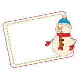 Color christmas card with snowman. Vector illustration Royalty Free Stock Photos