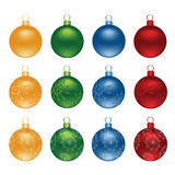 Color Christmas decoration ball vector set Stock Images