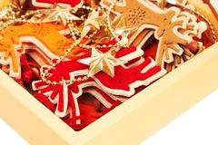Color christmas decoration  in box Royalty Free Stock Photo