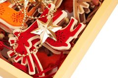 Color christmas decoration  in box Stock Photography