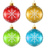 Color Christmas decoration with snowflake shape Stock Photos