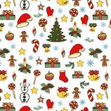Color Christmas doodles seamless Stock Photography