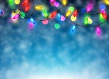 Christmas garland on blue background. Color Christmas garland of lights on blue background. Vector illustration Stock Images