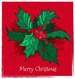 Color Christmas holly. Postcard with color Christmas holly. Vector illustration Royalty Free Stock Images